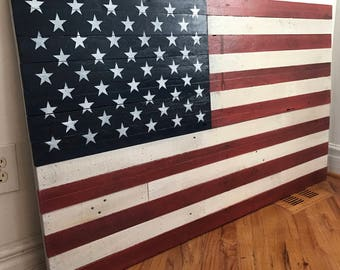 """Reclaimed pallet American flag hanging wall art 55"""" wide x 34"""" tall traditional colors"""