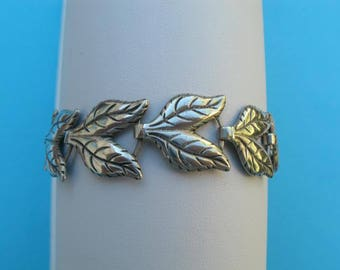 Sterling Silver Bracelet - 7 Inches Long - Vintage 1960s Leaf Design Bracelet