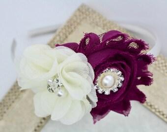 Plum headband, plum flower girl headband, plum and ivory headbands, plum wedding headband, deep purple flower headband, plum hair accessory