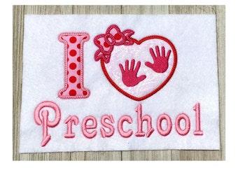 Embroidery design, I love preschool, 2 size applique, machine embroidery design, back to school,