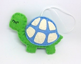 Blue turtle ornament - party supplies nursery decor Christmas gift idea baby shower gifts for kids for him for boys felt decoration