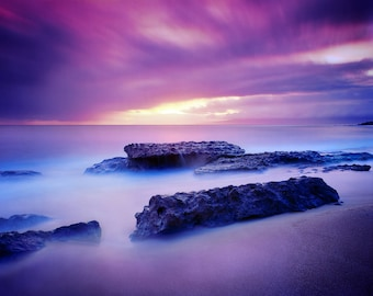 Maui Hawaii Beach Tropical Sunset, Color Matted Photograph in a Wood Frame