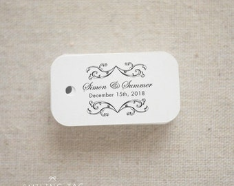 Vintage Elegance Custom Wedding Gift Tags - Thank you Wedding Favor Tags - Thank You Rustic Wedding Favor Tags - Set of 40 (Item code: J209)