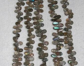 Labradorite, Labradorite Pear, Pear Briolette, Smooth Briolette, Semi Precious Gem, Gemstone Briolette, Full Strand, 8-10 mm, AdrianasBeads