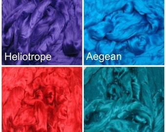 Dyed Bamboo Fiber, 8oz,  Spinning Fiber,Bamboo Top, Silk Fusion Fiber, Blending Fiber, Dyed Bamboo Top