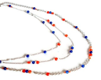 Chunky Chain Necklace-Beaded Chain Necklace-Multistrand Beaded Necklace-Multistrand Necklace--Layering Necklace