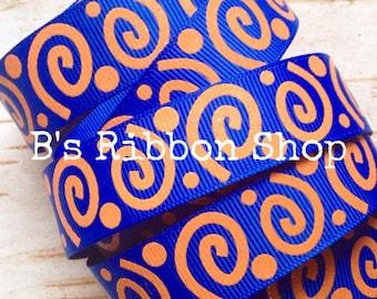 "7/8"" Royal Blue with Tangerine Glitter Wonky Swirls US Designer 1 yard grosgrain ribbon"