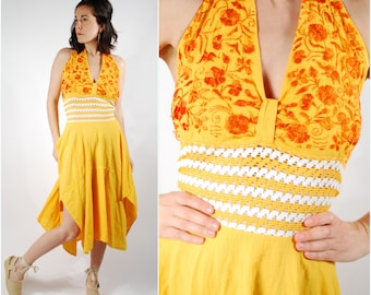 1970's Mexican Halter Dress - 70's Yellow Embroidered Sundress - Boho Hippie Dress - Size S/M