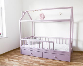 Montessori wood house bed crib with removable railing and drawers