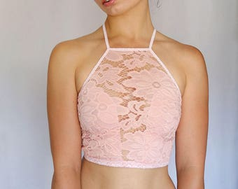 Peachy Pink Lace Bralette, High Neck Lace Cropped Top. Tank top. Handmade Lingerie.
