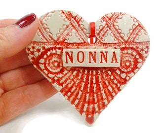 Nonna Ornament,Italian Grandmother,Christmas Ornament, Mother's Day Gift, Nonna Birthday, Valentine Heart, Grandmother Gift, Nonna Christmas