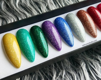 GLITTER press on nails | choose color | any shape and length | custom nails |basic nails | one color | salon quality nails | custom reusable