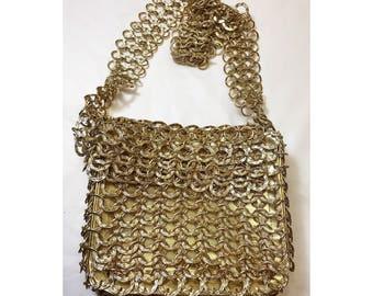 Vintage 70's Walborg Gold Chain Mail Mesh Handbag