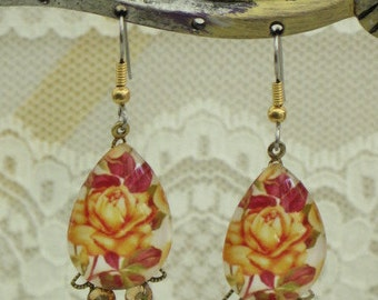 Yellow ROSEs Glass Cabochon  FLOWER EARRINGS - with Pearl Drops