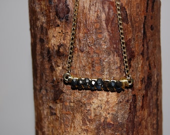 """Beaded bar necklace with slate colored faceted beads and 9"""" gold chain"""