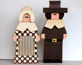PILGRIMS Boy & Girl Thanksgiving Wood Decorations