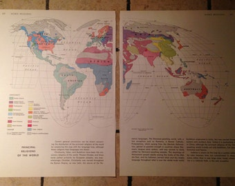 1962 World Religions Map Antique Illustration