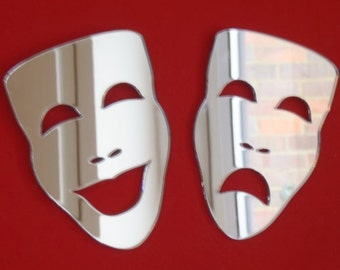 Pair of Theatre Masks - Comedy and Tragedy Shaped Mirrors - 4 Sizes Available