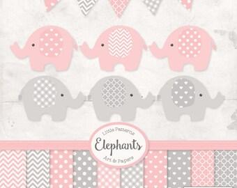 Premium Elephant Clipart, Vectors & Digital Papers in Soft Pink with Grey - Soft Pink Elephant Clip Art, Elephant Vectors, Baby Elephants