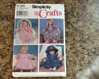 "Vintage Simplicity  9286  Doll cloths  craft pattern size 12""-22"" Dolls  Uncut"