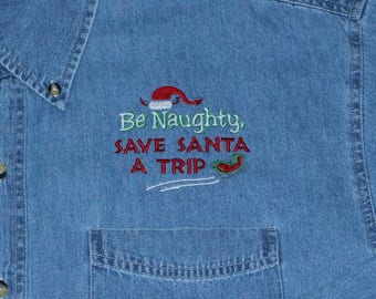 Denim Christmas Shirt---ONLY 1 LEFT--------Size Small
