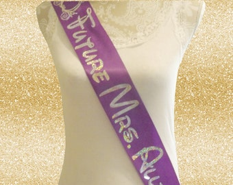 Custom Future Mrs (Your Name) Disney Inspired Sash You Choose Colors and Graphic Girls Night Out Bridal Shower Wedding Party