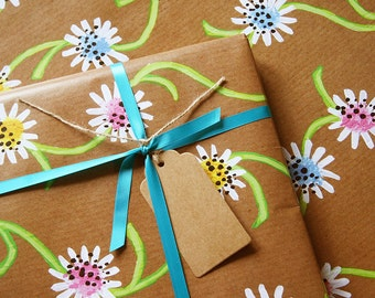 Daisy Chain - Luxury Gift Wrap Pack (Blue Satin Ribbon) (PACK OF 2)
