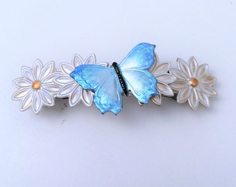 Butterfly french hair barrette, Womens, blue, daisy