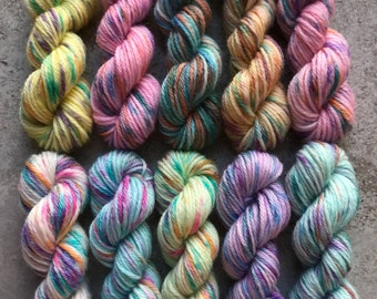 Hand Dyed Sock Yarn Mini Skein Set #172 -- 10 Mini Skeins/25 Yards Each