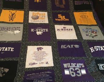 K State Kansas Wildcat T Shirt Memory Quilts