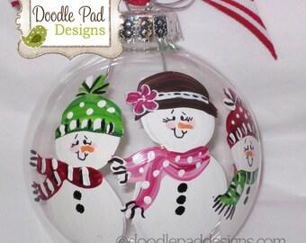 Single Parent Ornament, Personalized Snowman Family, Family Ornament