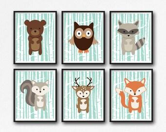 Woodland Animals Printable Nursery Decor, Forest Animals Wall Art, Woodland Wall Art, Nursery Wall Art, Birch, Set of 6, Instant Download