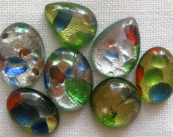 Flat Back Cabochons 7 Pcs | Mixed Green Cabochons | Multicolor Murano Style Glass | Glass Cabochons for Jewelry Making | Craft Cabochons