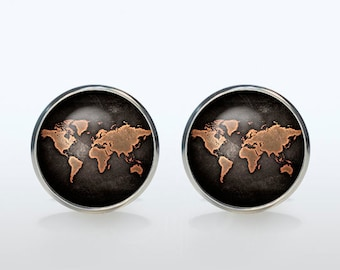Cufflinks World Map Cufflinks personalized gift Cuff links gift for man gift for boyfriend Christmas gift gift idea wedding cufflinks groom
