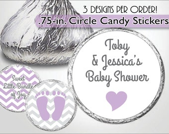 Kiss Labels, Lavender Baby Shower, Baby Feet, Purple Heart, Lilac Footprints - Customized Kiss Stickers - Candy Buffet, Personalized Favors