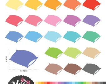 26 Colors Pillows Clipart - Instant Download