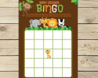 Safari Jungle Baby Shower Bingo Game Printable - Instant Download - Baby Shower Activities - Gender Neutral Baby Shower Games - Bingo Cards