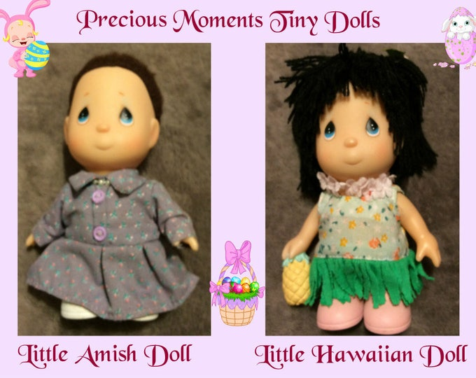 Tiny Precious Moments Dolls, Vintage Amish Doll and Hawaiian Doll, in Excellent Condition, with Reduced Shipping