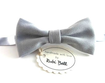 Light grey velvet bow tie, winter bow tie, Christmas bow tie, Christmas gift