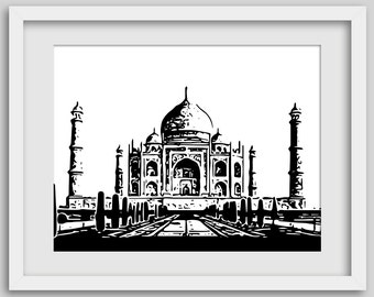 Taj Mahal Print, Architectural Print, Eastern Print, Indian Art, Indian Architecture, Taj Mahal Art, Black and White, Architecture Print