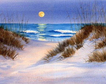 Lady Moon depicts the moon rising over Wrightsville Beach on a summer evening- Moon Watercolor Painting