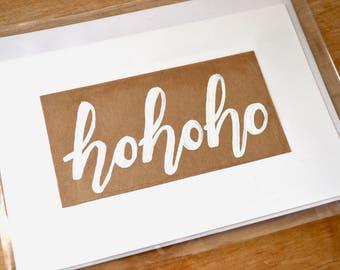 Ho Ho Ho Christmas Holiday Notecard - Custom Made to Order Hand Drawn Folded Note Card / Greeting Card