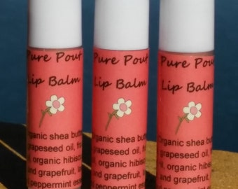 Three-pack of Pure Pout Organic Lip Balm with Essential Oils
