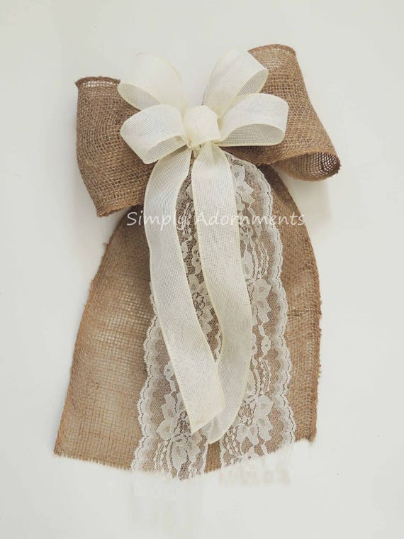 Ivory Lace and Burlap Wedding Bow Rustic Burlap Wedding Pew Bow Vintage Burlap and Lace Wedding Aisle Bow Rustic Burlap Country Wedding Bow
