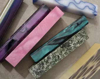 Acrylic Pen Blanks, Lot of 7 Pen Blanks, Woodworking, Many Uses, Craft Lot, Violet, Money, Cotton Candy, Rainbow and More
