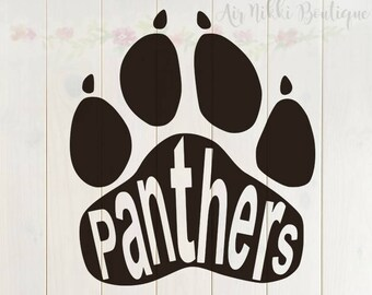 Panthers Paw Print SVG, PNG, DXF files, instant download