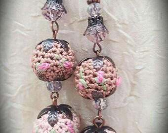 Pompom Beige Earrings Boho Chic Earrings Brown Embroidered Earrings Dangle Beaded Earrings Dusty Rose Earrings Crochet Jewelry Women Gift