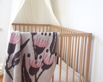 Wool knit baby blanket with flowering gum tree design, suitable as bassinet blanket, pram blanket, baby wrap, throw rug, wall hanging