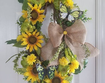 Sunflowers and Green with Butterflies.