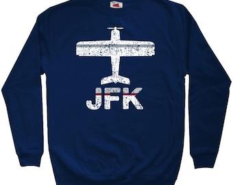 Fly New York JFK Airport Sweatshirt - Men S M L XL 2x 3x - Crewneck NYC Shirt - 3 Colors